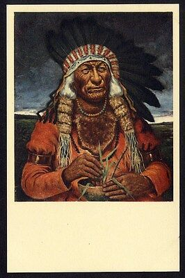 CHIEF FLAT IRON by H H Cross Native American Indian Postcard OGLALA SIOUX