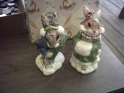 1997 My Blushing Bunnies-Boy & Girl Skaters Salt & Pepper With Box