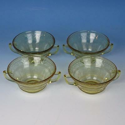 Federal Glass - Amber Patrician Spoke Depression - 4 Cream Soup Bowls - 4½ inch