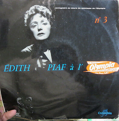 "Edith Piaf Record + Program w/ Autograph signatures French Columbia 10"" LP"