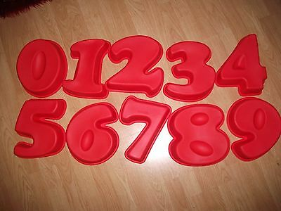 *sale* Large Silicone Number Cake Mould Red Celebration Tin 0 1 2 3 4 5 6 7 8 9