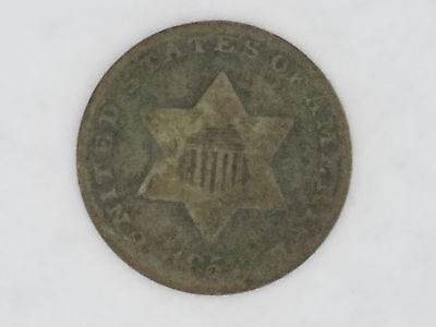 1852 Three Cent Silver Trime 3 Cents Coin High Grade - 6068