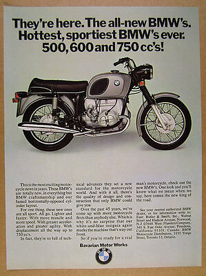 1970 BMW R75 R75/5 Motorcycle color photo vintage print Ad