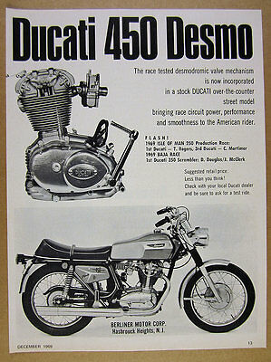 1969 Ducati 450 Desmo motorcycle photo vintage print Ad