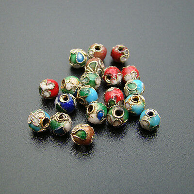 10 CLOISONNE Beads Tibetan metal beads Enamel Spacer MIX 6mm - p00667x2-ei