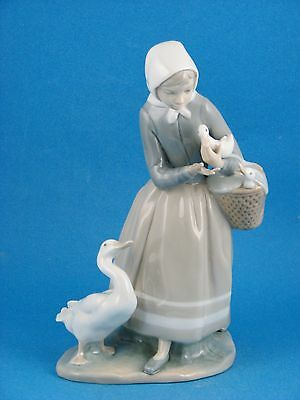 Shepherdess With Ducks or Girl w Geese - Retired Figurine by Lladro #4568