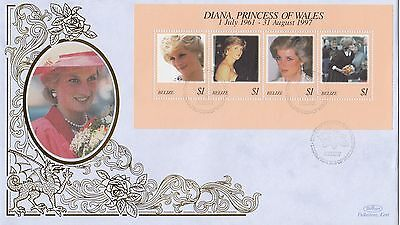 (02008) Belize Benham FDC Princess Diana Death minisheet 31 March 1998
