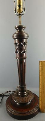 Antique Victorian Hand Carved Wood Walnut Post Banquet Table Lamp