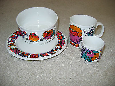 STAFFORDSHIRE CIRCUS 4 pc Set Plate Bowl Mug Small Cup Lion Parrot Wagons
