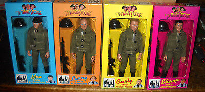 "Complete Set Three Stooges 7""  Figures Military Army Moe Larry Curly Shemp Nib"