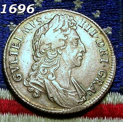 1696 WILLIAM III Silver SHILLING NOTA Half Penny Token OLD Colonial Coin NICE XF
