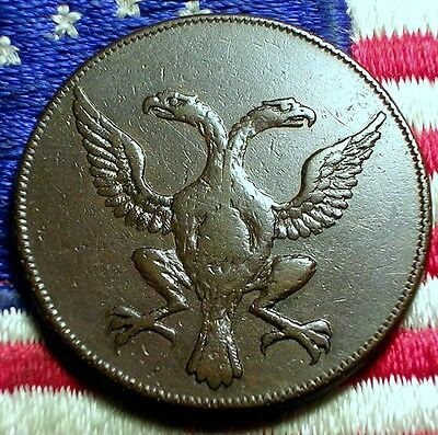 1797 Falmouth Volunteers  Eagles Half Penny Conder Token Colonial Coin Au Scarce