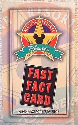 Rare 1994 Walt Disney World All-Star Resorts Grand Opening Cast Fast Fact Card