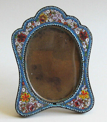 Picture Frame Handcrafted Italian Micro Mosaic Light Blue Antique