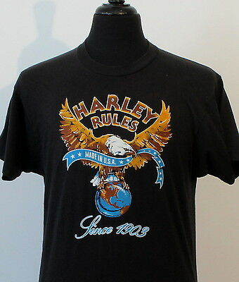 vintage 80s HARLEY DAVIDSON soft thin T SHIRT medium BIKER screen star ROCKER