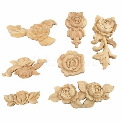 Wood Carved Multi Type Corner Onlay Applique Door Rose Home Decoration 1/4pcs