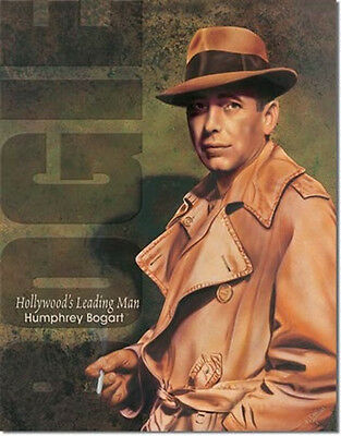 Humphrey Bogart, Hollywood's Leading Man Tin Sign Poster Reproduction NEW UNUSED