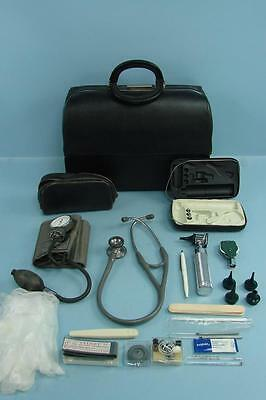 Vintage Rare Leather Schell Doctor's Medical Travel Bag with Equipment