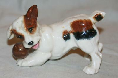 Vintage Porcelain Jack Russell Dog Figurine Terrier Playing With Ball Japan 50's