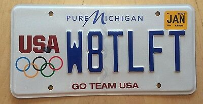 "Pure Vanity License Plate "" W8Tlft "" Usa Olympics Weight Lifting Weightlifter"