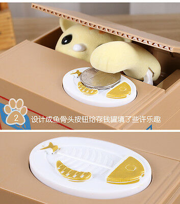 Cat in the Box Coin Piggy Bank Paw Hand Automatic Stealing Money Saving Box