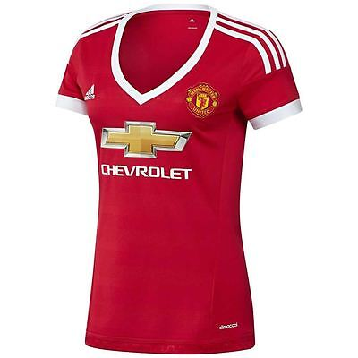 adidas WOMENS MANCHESTER UNITED FOOTBALL TOP JERSEY MUFC LADIES GIRLS 15 16  NEW 1bab99ed3