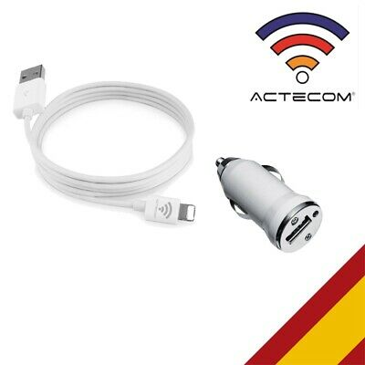 Actecom® Mini Cargador Mechero Coche+Cable Usb Para Iphone 7 Y 7 Plus Iphone 6