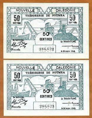 SET New Caledonia, 2 x 50 Centimes, Consecutive pair, P-54, 1943 WWII, UNC