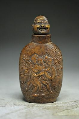 Unique Chinese rock stone hand carved snuff bottle --people ss3