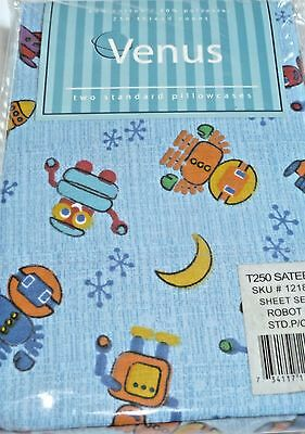 ROBOT (2) Standard Pillowcases Space Ship Stars Space Blue NEW