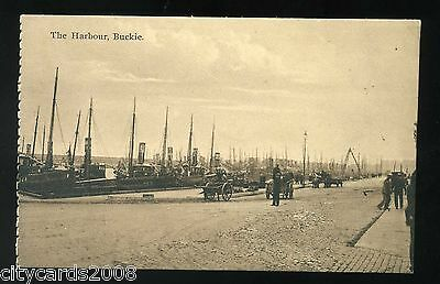 SCOTLAND  BUCKIE    The Harbour with fishing boats / hand carts   animated