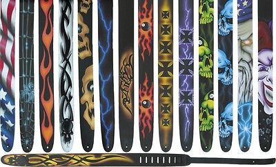 "Perri's 2-1/2"" Leather Airbrushed Guitar Strap Spider"