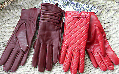 LEATHER WOMEN'S GLOVES ,DARK/LIGHT REDS,STYLE-2 pairs-retro electro