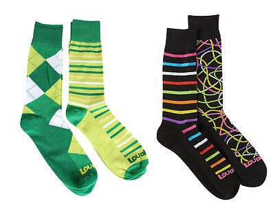 4 Pair NEW Mens Loudmouth Golf Socks Scribblz/Lines Green Argyle Size 10 -13