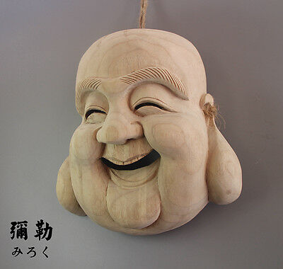 QH031 - 21*18.5*9 cm Hand Carved Japanese Noh Buddha Mask
