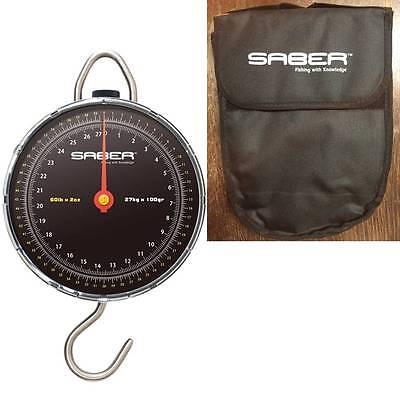 Saber Fishing Scales 60Lb Carp Fishing Dial Scales For Pike Match Sea + Pouch
