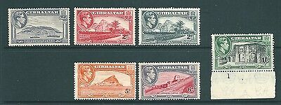 GIBRALTAR - 1938 MINT low values - George VI 'Views' to 1 Shilling