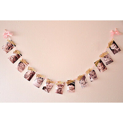 1st Birthday Recording 1-12 Month Photo Garlands Monthly Bunting Decora