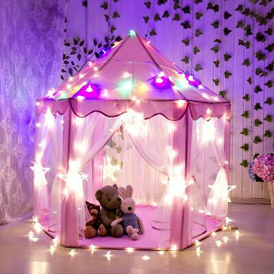 Girls Pink Princess Playhouse Castle Cute Children Kids Play Tent with LED Light