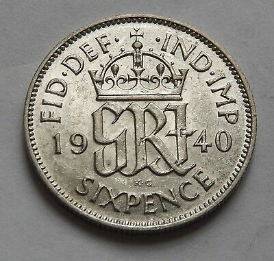 Sixpence George VI 1940 EF Lustre  .500 Silver