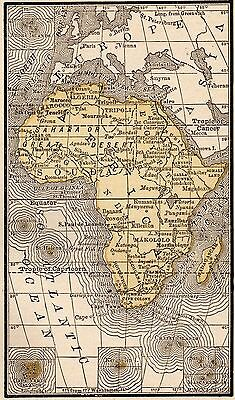 1888 Antique AFRICA Map RARE MINIATURE Vintage Map of Africa #3799