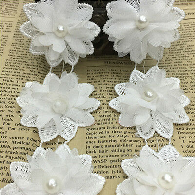 50x Vintage Flower Pearl Lace Edge Trim Wedding Ribbon Applique DIY Sewing Craft
