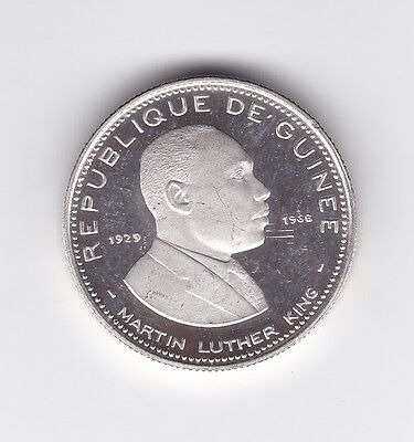 Guinee  1969  100 Francs  Martin Luther King  Silver  Aunc