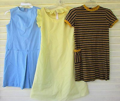 Vtg 3 Lot Girls 60s Party Rockabilly Party Dotted Swiss MOD Dress Costume M/L