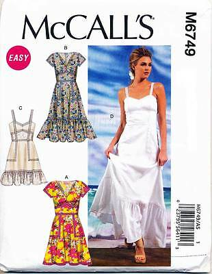 Mccall's Sewing Pattern 6749 Misses Sz 6-14 Boho, Peasant Style Dresses & Maxi