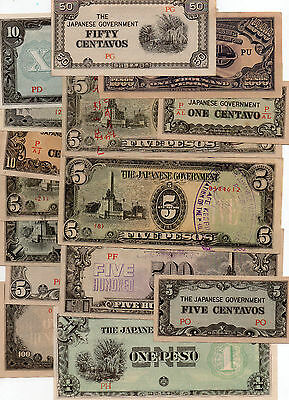 X15 Japanese Invasion Occupation Money Alied Bank Notes Japanese Character C/S