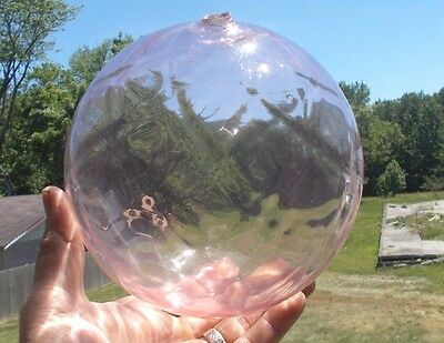 "Hand Blown Huge 7""pink Glass Witch Ball Diamond Pattern Rough Sheared Opening"
