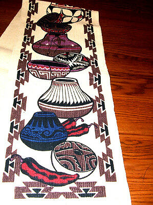 """Table Runner 13.5x72"""" + Fringed Ends Native American Southwest Pottery Design"""