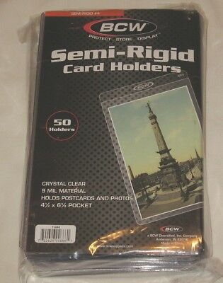 Pack of 50 BCW Semi Rigid 4x6 Photo Card / Postcard Holders savers sleeves
