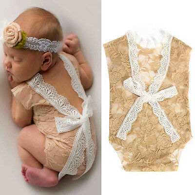 Newborn Baby Girls Crochet Lace Costume Romper Photo Photography Prop Outfit NW